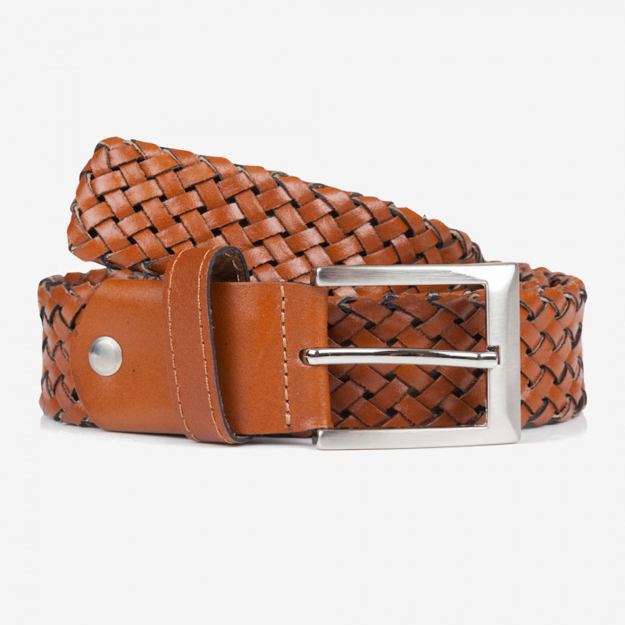 Belt - Genuine Leather Woven Belt - Hazelnut